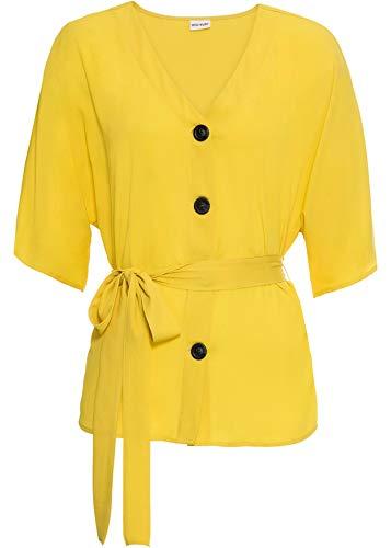 bonprix Traumhafte Halbarm-Bluse mit dekorativem Bindeband maisgelb 36 für Damen