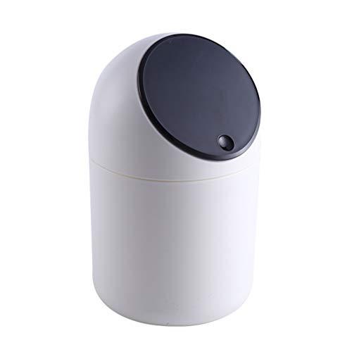NUOBESTY Mini Bote de Basura de Escritorio contenedor de Basura Tapa abatible contenedor de Basura para Oficina hogar Cocina Dormitorio Mesa contenedor (Cubierta Negra)