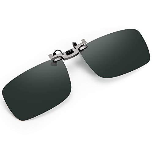 クリップオン サングラス 前掛け偏光サングラス クリップめがねの上から ワンタッチ装着 UV400 スモーク メガネに取り付け スクエア型 サングラス