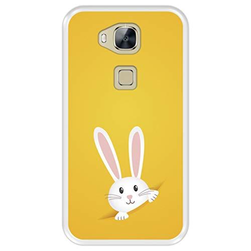 Funda Transparente para [ Huawei GX8 - G8 ] diseño [ Conejo de Pascua ] Carcasa Silicona Flexible TPU