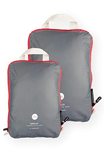 NORDKAMM Packtaschen mit Kompression, Koffer-Organizer, grau, Set M L