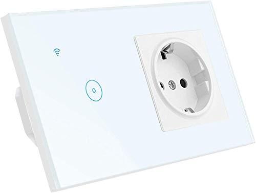 BCDL Zócalo de la UE 16A con Interruptor de luz Inteligente, Socket Durable 1/2/3 de pandillas y 5 Orificios, Compatible con Alexa y Google Home (Neutral requerido) 1123