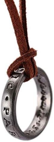 Unisex Ring Pendant Necklace& Leather Cuff Bracelet