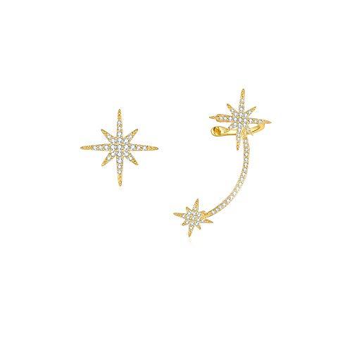 Pendientes de Botón Estrella Cristal Pendiente Puños Oro Pendientes Climber Mujer