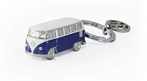 Brisa VW Collection - Volkswagen Furgoneta Hippie Bus T1 Van Llavero 3D Vintage Mini Modelo, Anillo de Llavero Retro, Accesorios del Coche como Idea de Regalo/Souvenir (Azul/Blanco)