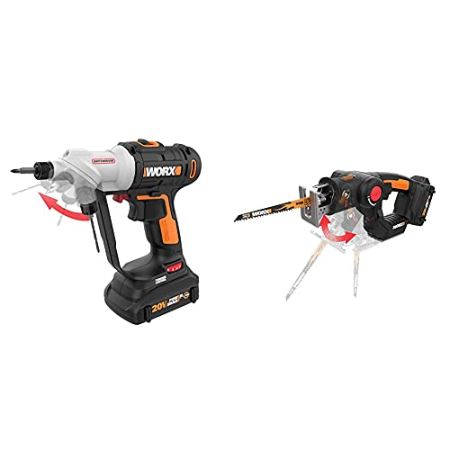 WORX Switchdriver 2-in-1 Cordless Drill and Driver & WX550L Axis Convertible Jigsaw To Reciprocating Saw with Orbital Mode, Variable Speed, & Tool-Free Blade Change System