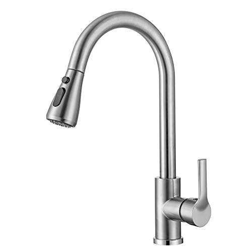 Kitchen Faucet with Pull Down Sprayer Brushed Nickel, High Arc Single Handle Kitchen Sink Faucet Without Deck Plate, Commercial Modern Stainless Steel Kitchen Sink Faucet (Brushed Nickle)