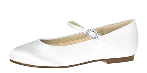 Rainbow Club Blumen-Mädchen Schuhe Flach Binx - Weiß Satin - Ballerinas Größe 25.5 EU 8 UK…
