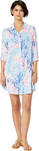Lilly Pulitzer Natalie Cover-Up Crew Blue Tint Kaleidoscope Coral LG