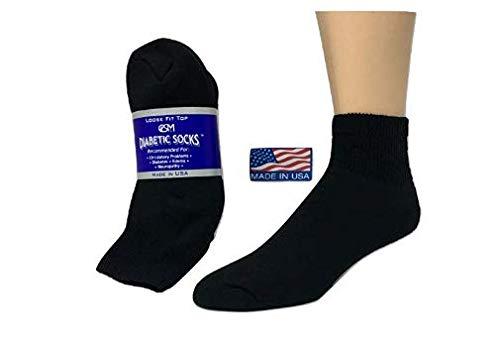 Diabetic Socks,Creswell Diabetic Socks, 12 Pack (1 Dozen Pairs), for Men and Women, Medical Socks for Neuropathy, Edema, Diabetes, Non-Binding, Ankle Length, Size 10-13 Large, Black