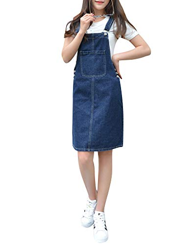 Mujer Vestido Peto Vaquero Denim Vestido Strappato Dungaree Monos Peto De Falda Azul Marino L