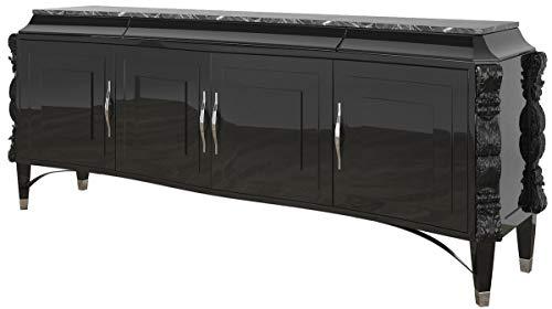 Casa Padrino aparador Art Decó de Lujo Negro/Plata 220 x 50 x A. 90 cm - Gabinete de salón Noble con 4 Puertas y encimera de mármol - Muebles Art Deco
