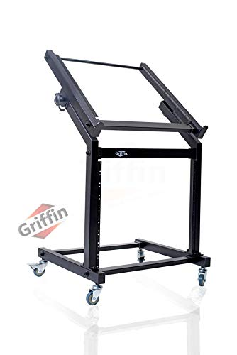 Rack Mount Rolling Stand & Adjustable Mixer Platform Rails by GRIFFIN | 19U Cart Holder for Music Studio Booth Pro Audio Recording Cabinet | Stage Equipment DJ Gear Storage Case for Amplifier, Effects