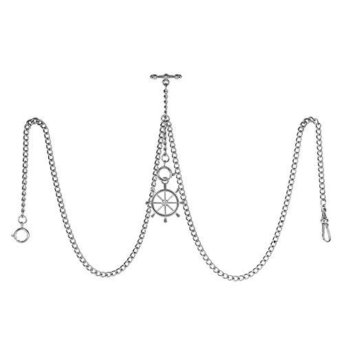 TREEWETO Reloj de bolsillo doble Albert con cadena de eslabones para hombre, 3 ganchos con colgante de timón de plata envejecida, diseño de dije en T