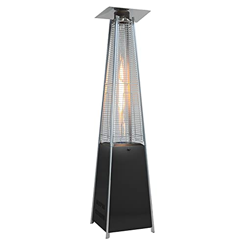 The Fellie 13KW Gas Patio Heater, Freestanding Outdoor Garden Patio Gas Heater, Moveable Pyramid Patio Hearer with Wheels for Butane Gas Canister Up To 15KG (Black)