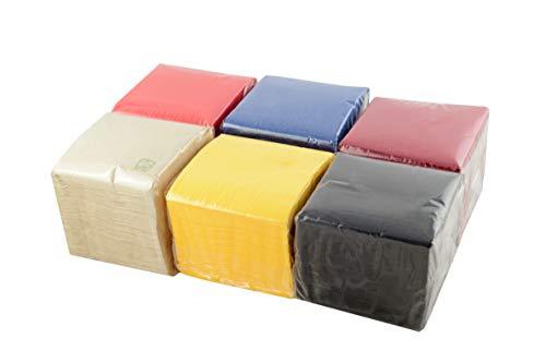 Hostelnovo Tovaglioli di carta – 600 pezzi – Colori Assortiti: Giallo, Rosso, Blu Navy, Bordeaux, Nero e Naturale – Speciale Cocktail – 10 x 10 cm