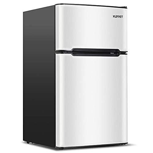 3.2 Cu.Ft Mini Compact Refrigerator for Dorm,Camper, Garage, Basement or Office, Double Door Refrigerator and Freezer