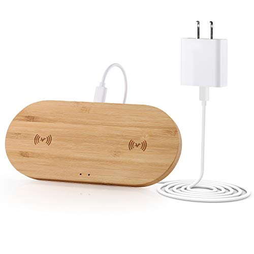 Veelink Bamboo Dual Wireless Charger, Double 10W Wireless Charging Pad Compatible iPhone SE 2020/11/Xs MAX/XR/XS/X/8/8, Samsung S20/S10/S9/S8/Note 20 (Adapter Include)