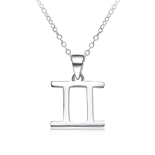 Sahaa 925 Sterling Silver Gemini Necklace for Women Zodiac Pendant Astrology Charms Birthday Gift