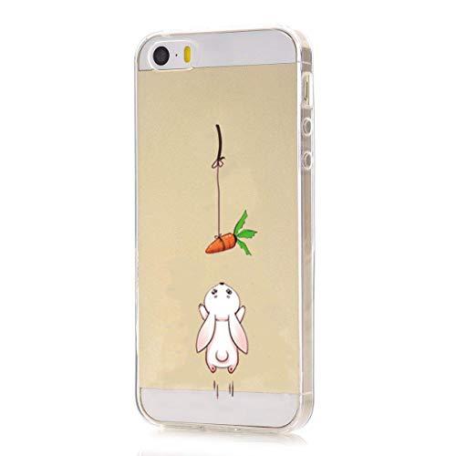 Pacyer Custodia Compatibile con iPhone SE iPhone 5 Apple 5S Simpatico panda coniglio pinguino Transparente Silicone Cover TPU Gel Protettivo Skin Shell Case Per apple SE 5 5S (Carota di coniglio)