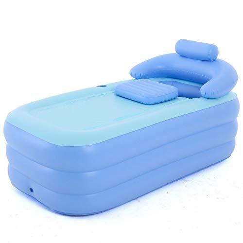 Bañera Inflable Para Adultos Piscina Para Niños Spa Masaje Plegable Cama Para Baño/Jardín Ducha Portátil Hidromasaje (Azul)