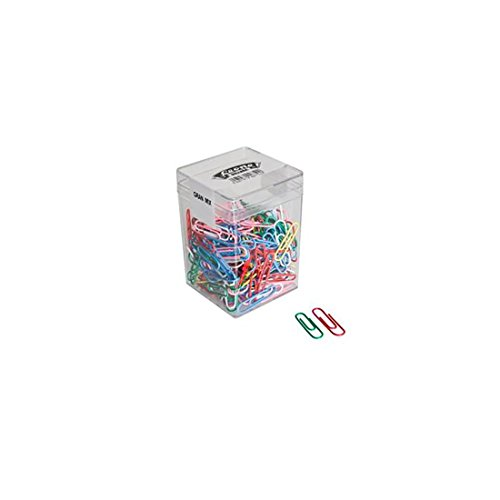 125 Gr. (Ca. 275 Pz.) 601784 Fermagli Assortiti Colorati Plastificati Leone dell'Era N. 3-4 - Barattolo Trasparente - Made in Italy