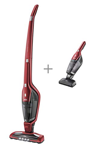 AEG CX7-2-45AN Aspiradora Escoba Sin Cable y de Mano Cepillo Mascotas, hasta 45 Minutos, 2 Velocidades, Cepillo 180º, 79dB de Ruido, Función Limpieza Cepillo, Luces Cepillo LED, Depósito 0.5L, Rojo