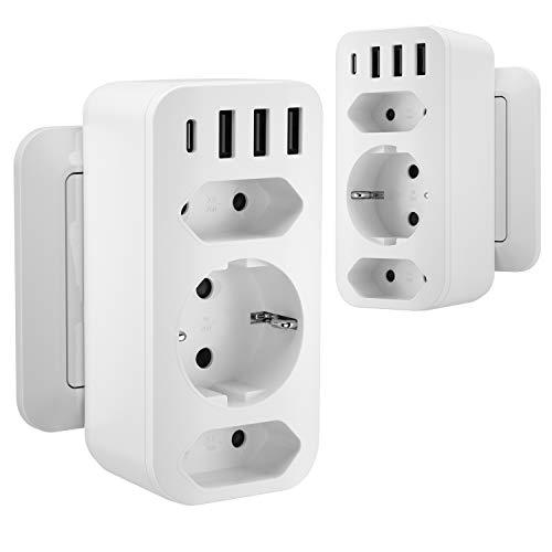 Kinglink Adaptador de Enchufe, Enchufe USB Multiple (5V / 3.4A), Toma Múltiple sin Cable, Toma de Superficie 7 en1 4000w, Tomas para teléfono Inteligente, electrodomésticos, 2PCS Blanco