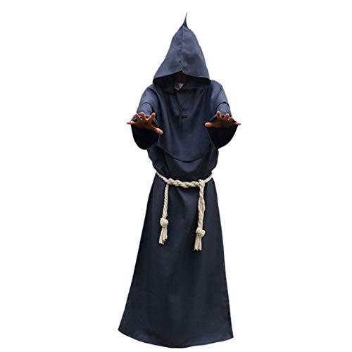 Cosplay Halloween kleidet Halloween Robe Cosplay Mönch Anzug Mittelalterliche Gugel, Ganzkörperansicht mit Kapuze Mantel Mönch Renaissance Priest Wizard Robe Umhang Umhang Robe Kostüm for Männer Fraue