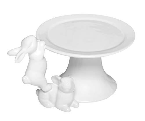 Brillibrum Design Dekoteller Teller Hase Osterhase Keramik Servierteller Etagere Häschen Weiß Osterdeko Figur Desserteller aus Porzellan Standfuß Ostermotiv Hasenmotiv (Variante 8)