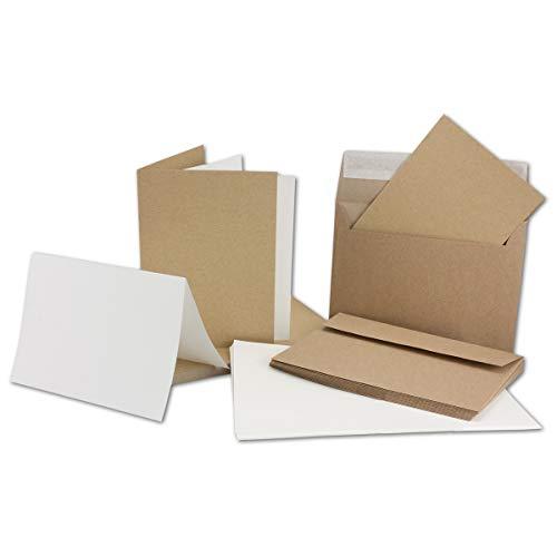 50 x Kraftpapier Faltkarten-Set DIN C6 /A6 - Doppel-Klappkarten + Einlegeblätter in creme mit Umschläge C6 - Vintage-Naturpapier - braun
