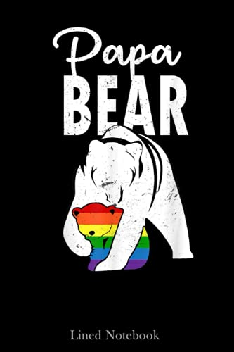 Papa Bear Gay Pride Rainbow Flag LGBT Dad Camping Father Day Lined Notebook: Blank Journal Sentimental Gifts for Dad, Father's Day Gifts, 120 pages 6x9