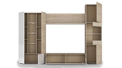 Esidra Mobile Soggiorno Parete attrezzata Porta TV, Rovere, 260 x 185 x 42 cm