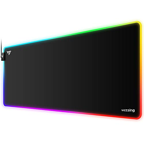 VicTsing [30% Larger] Gaming Mouse Pad, 12 Lighting Modes RGB Mouse Pad, 31.5×15.75×0.2 In, Non-Slip Rubber Base, Soft Smooth Large Waterproof LED Mouse Pad XL Mousepad for Gaming/Esports Pros/Office