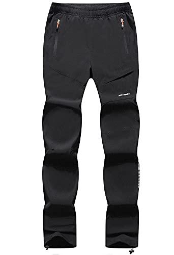 BenBoy Pantaloni Trekking Donna Impermeabile Asciugatura Rapida Traspiranti Pantaloni Casual Arrampicata Softshell Outdoor Pantaloni da Montagna Sportivi,KZ2016W-Black-L