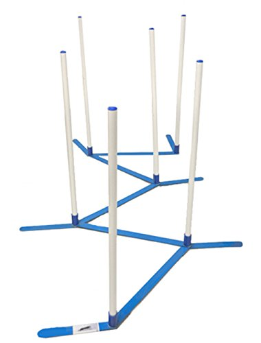 Agility Weave Poles Adjustable 6 Pole Set with Carrying Case and Grass Stakes