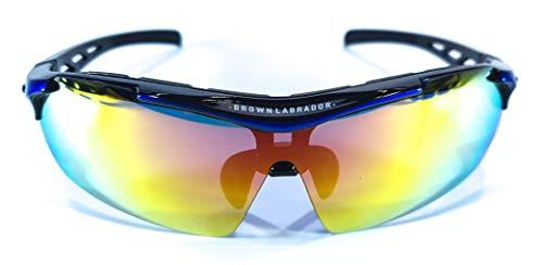 Brown Labrador Gafas Ciclismo polarizadas + REVO, 5 Lentes Intercambiables UV 400. Gafas Deportivas, Running Trail Running, BTT, Triatlon, Hombre y Mujer (Azul)