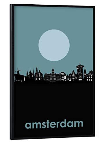 artboxONE Poster mit schwarzem Rahmen 30x20 cm Amsterdam Städte/Amsterdam Amsterdam Skyline Minimalism