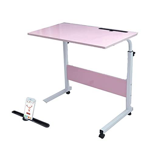 Mesa lateral móvil móvil Mesa de escritorio para ordenador portátil Mesa ajustable sobre la cama con ruedas para sofá 80x40 cm bandeja de comida escritorio
