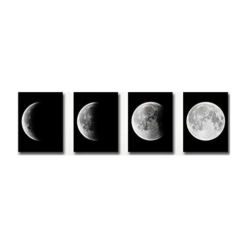 Olydmsky Cuadros dormitorios modernos,Luna gradiente digital luna llena fondo (4) equipo de inyección de tinta decoración pintura (sin marco)