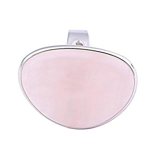 unknow North Ming has Fish - Anillo ajustable de cuarzo rosa con diseño de corazón de cuarzo rosa para mujer, 1,4 x 1,1