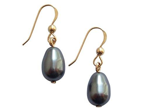 Gemshine - Damen - Ohrringe - Perlen - Tahiti - Grau - Tropfen - Vergoldet - 11 mm