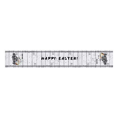 Moent Happy Easter Table Flag,Creative Tablecloth Polyester Cotton Truck Gnome Eggs Printed Table Runner,Festival Party Dining Table Home Decoration (MulticolorB)
