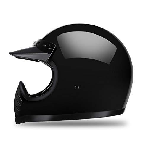 Casco de Cara Completa de la Motocicleta con visores Color Puro Alto Gloss, Ventilación Superior Cruiser Motorclists Dual D-Rings, Fibra de Vidrio Cáscara Dual de Densidad EPS