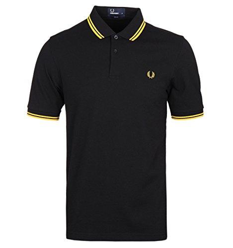 Fred Perry Herren Poloshirt Gr. M, Black - Yellow Tip