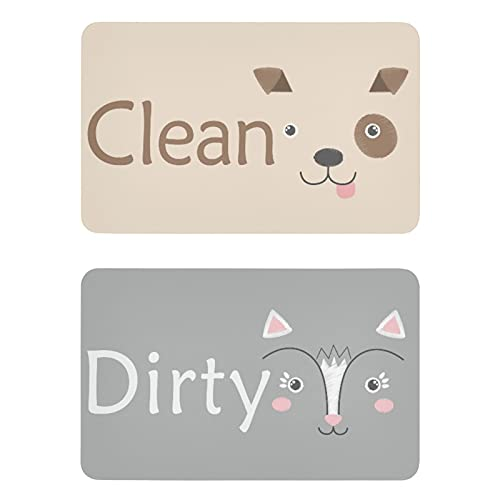 Naanle Dog and Cat Dishwasher Magnet Clean Dirty Sign Indicator Reminder Magnetic Plate Fridge Magnets Kitchen Dish Washer Refrigerator Magnet Signs for Kitchen Home Office Decor