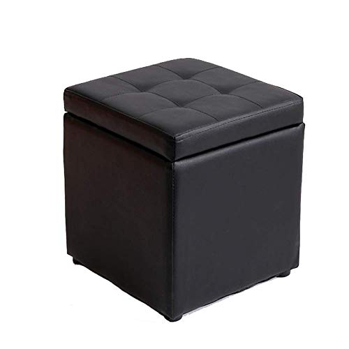 HKX Upholstered Storage ottoman With hinged lid, Square Faux leather Footrest stool Small Ottoman cube Footstool-black