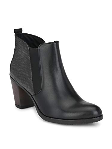 Delize Black/Brown Chelsea Ankle Boots for Women's (41, Black)