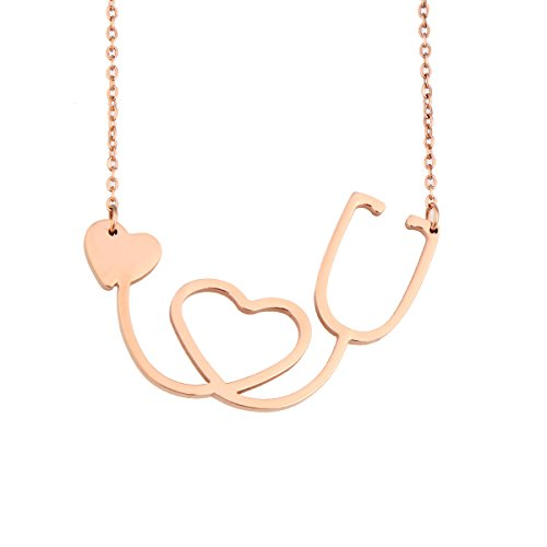 KUIYAI Doctor Nurse Stethoscope Stainless Steel Necklace with Heart (Stethoscope A Rose Gold)