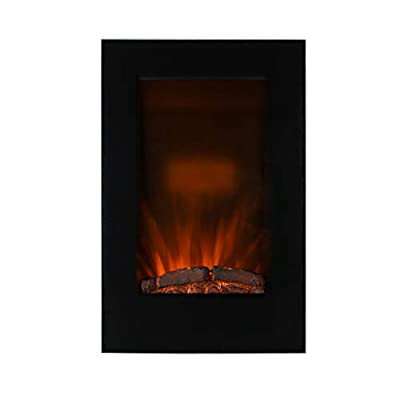 Caesar Fireplace EF490L with Log Effect and Remote Control 34-inch Vertical Wall Mount LED Electric Fireplace, Black